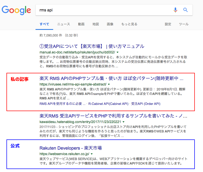 rms api の検索順位